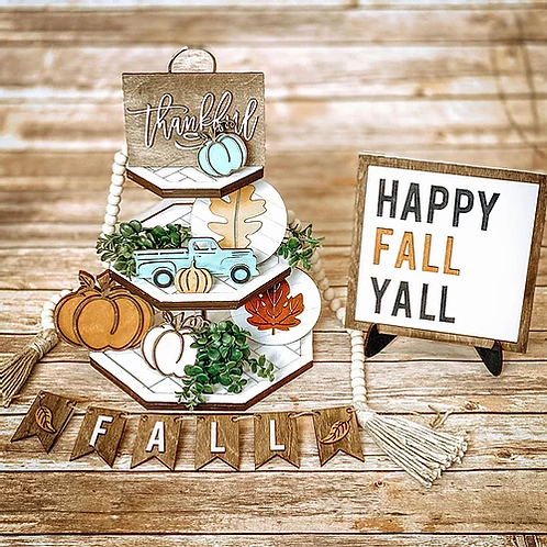 Fall Tier Tray set with Easel