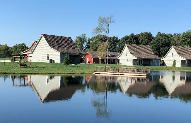 view of cabins from lake