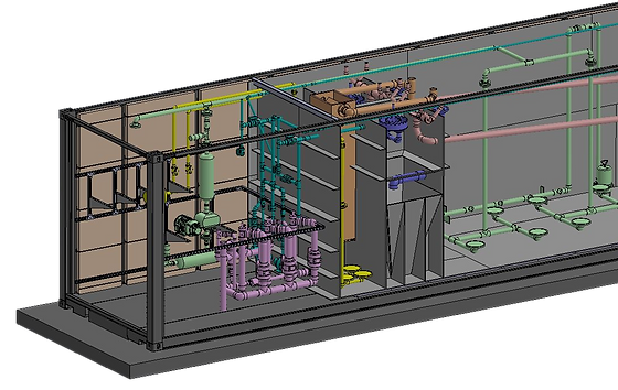Cutaway view of a containerized treatment sytem