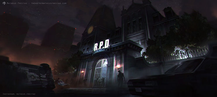 Resident Evil 2 Remake Raccoon City Police Department surrounded by zombies