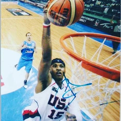 USA Carmelo Anthony Autographed 8x10 Photo (Includes COA)