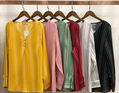 Blusa manga longa listrada