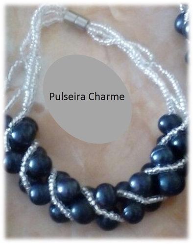 Pulseira charme de pérola verdadeira, cor negra, modelo 4.