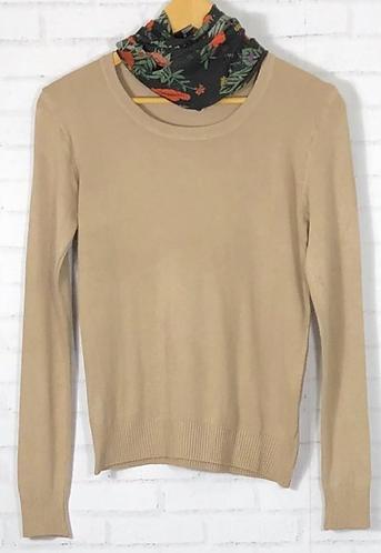 Blusa manga longa tricot básica bege