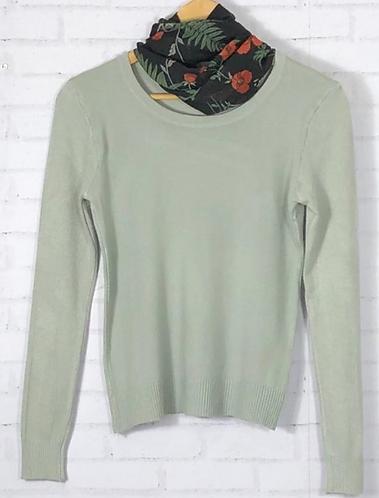 Blusa manga longa tricot básica cinza