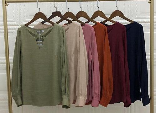 Blusa manga longa detalhe argola