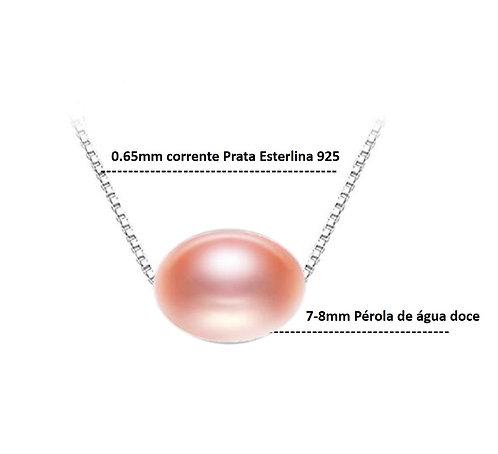 Colar de pérola rosa verdadeira, tipo correntinha, modelo 8, em prata 925.