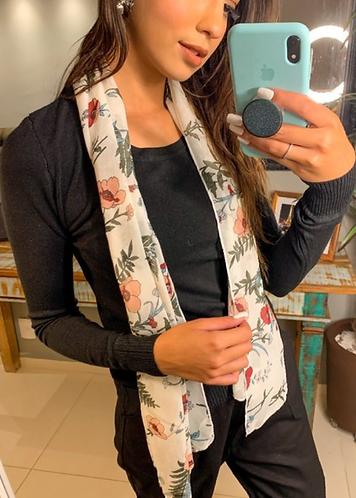 Blusa manga longa tricot básica Preto