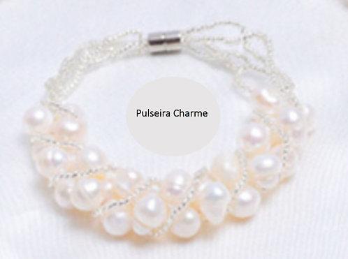 Pulseira charme de pérola verdadeira, cor branca, modelo 1.