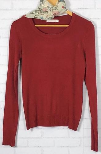 Blusa manga longa tricot básica vinho