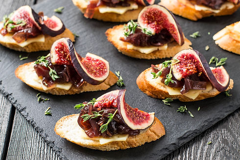 Canape or crostini with toasted baguette