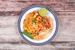 Popular Thai fried noodle with cube tofu