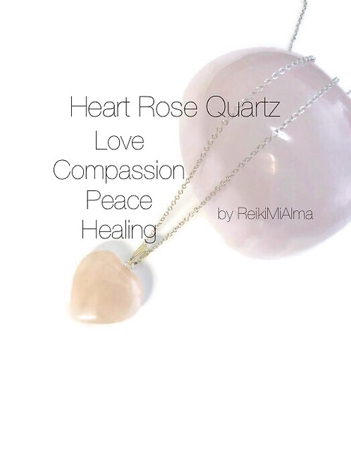 Rose Quartz Heart ReikiMiAlma Crystal Necklace