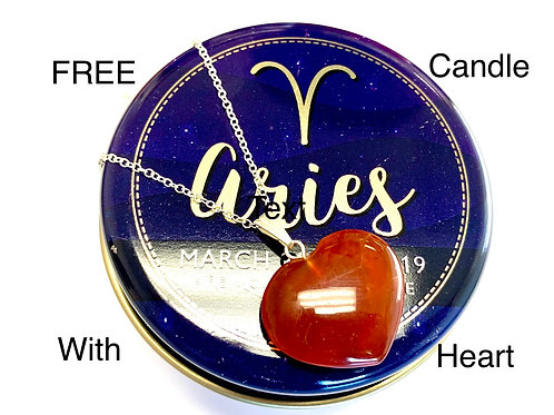 Carnelian Heart Necklace & FREE Aries Constellation Candle