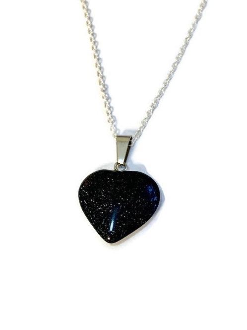 Black/Blue Goldstone Heart Necklace
