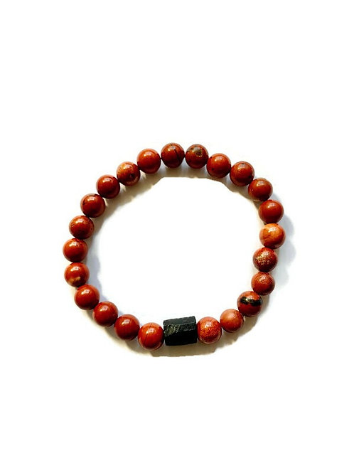Red Jasper and Black Tourmaline Bracelet