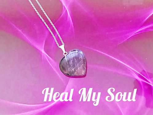 Amethyst Heart ReikiMiAlma Crystal Necklace