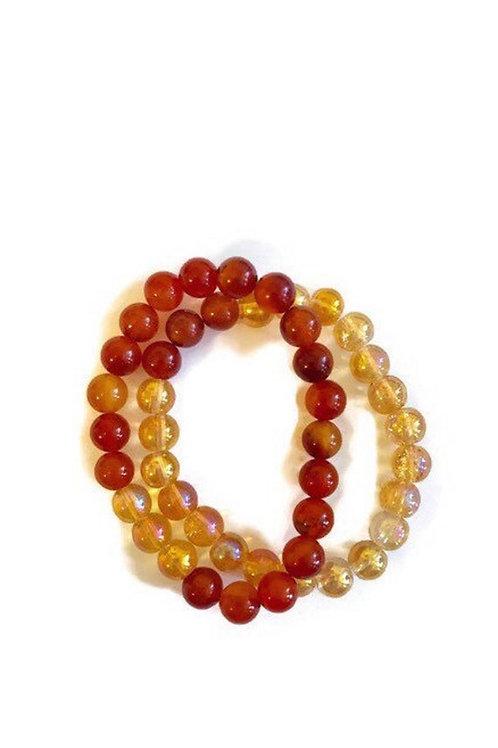 Carnelian & Crystal Glass ReikiMiAlma Double Bracelet