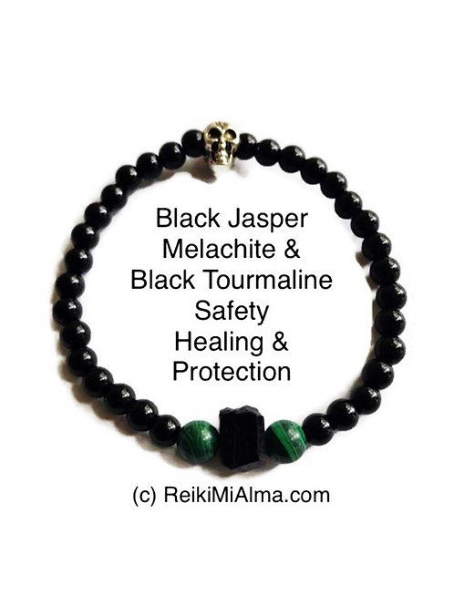 Black Jasper, Melachite & Black Tourmaline Beads Bracelet