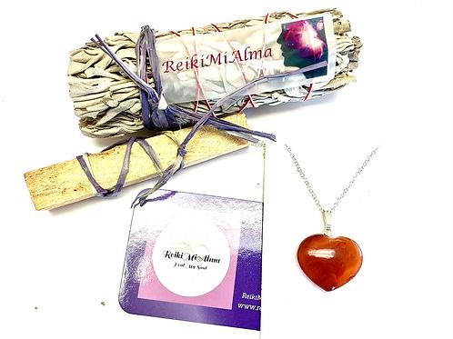 Carnelian Heart Necklace, Palo Santo & Sage