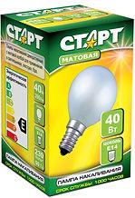 Лампа накаливания старт шар Е14 60 Ватт - 12,9 рублей
