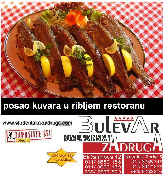 Oglasi za posao / poslovi preko omladinske zadruge Bulevar, riblji restoran, kuvari - kuhinjski radnici Novi Sad
