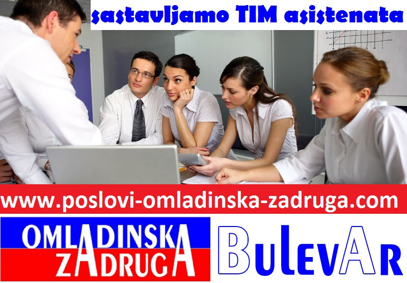 Poslovi omladinska zadruga, oglasi za posao BULEVAR zadruga - Tim administrativni asistenata, Beograd