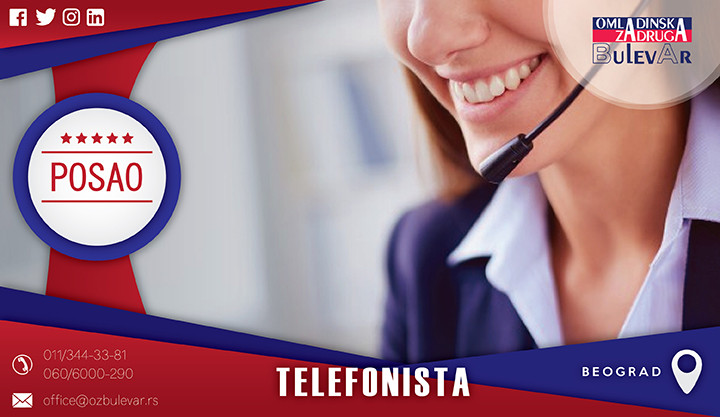 Beograd, Poslovi, Poslovi preko omladinske zadruge, Telefon, telefonista, call centar, pozivanje