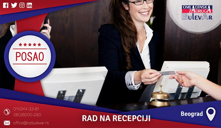 Poslovi preko omladinske zadruge, Omladinska zadruga, poslovi, rad na recepciji, recepcioner, recepcija