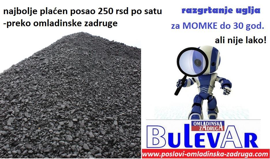 Fizicki Posao: razgrtanje uglja omladinske zadruge BULEVAR, Beograd