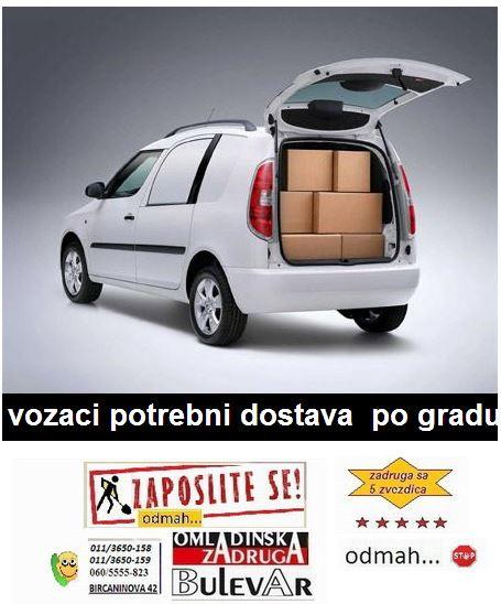 Oglasi za posao & ponuda poslova Omladinska zadruga Bulevar - vozači b kategorije, dostavljači