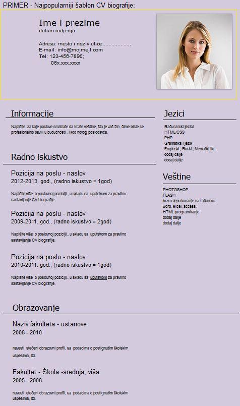 Primer CV biografije - Omladinska zadruga Bulevar