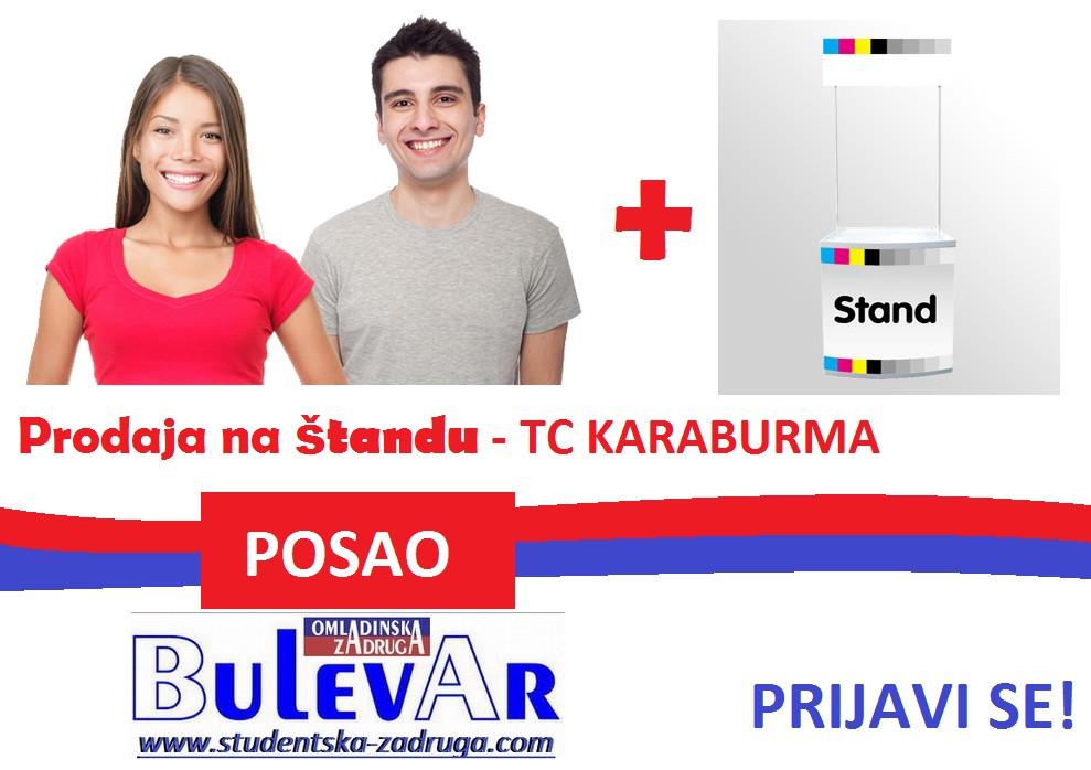 Prodaja na standu - TC karaburma, Beograd  preko omladinske zadruge BULEVAR