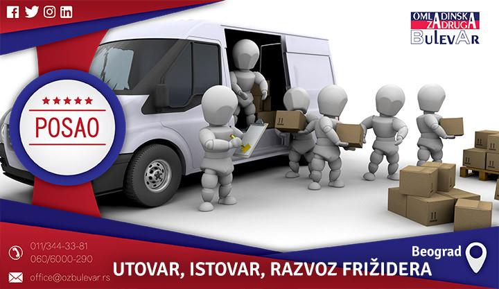 Poslovi preko omladinske zadruge, Omladinska zadruga, poslovi, UTOVAR, ISTOVAR, razvoz, utovar frižidera, fizički posao, prenos, prenošenje