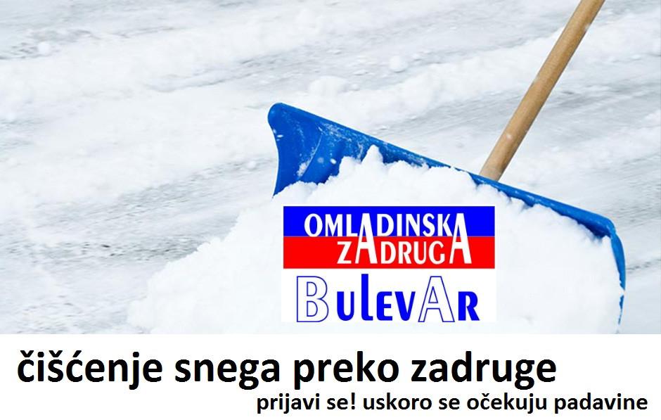 Ciscenje snega preko omladinske zadruge Bulevar, poslovi omladinska zadruga