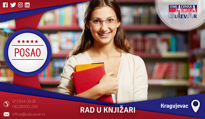 Poslovi preko omladinske zadruge, Omladinska zadruga, poslovi, rad u knjižari, knjižara, Kragujevac, tržni centar Plaza