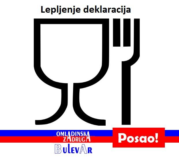 Posao: Lepljenje deklaracija u magacinu |  1 mesec - 160 rsd po satu, preko omladinske zadruge BULEVAR