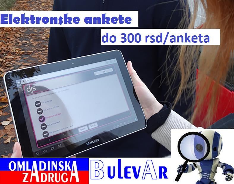 Omladinska I STUDENTSKA zadruga Bulevar, terenski anketari, elektronske ankete preko zadruge