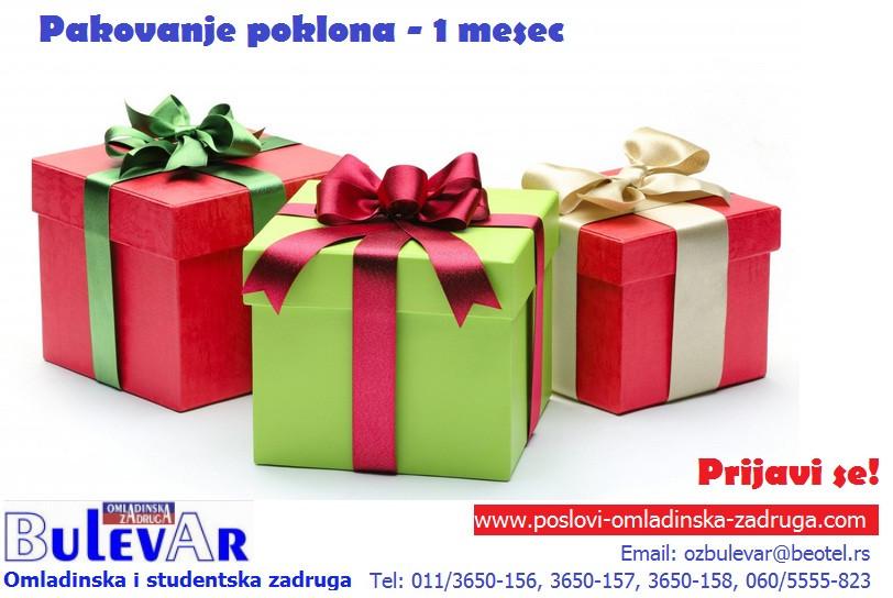 Oglasi za posao / poslovi preko omladinske zadruge BULEVAR, pakovanje poklona u knjizari, Beograd