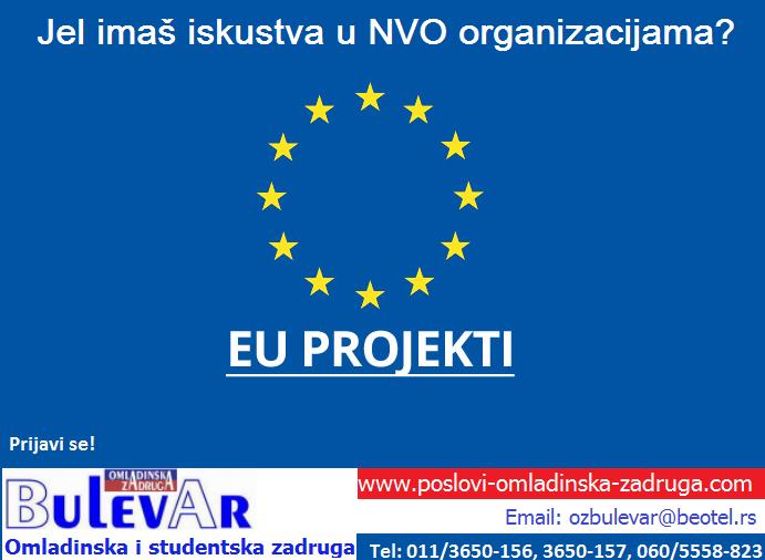 Omladinska zadruga Bulevar |  Studentska zadruga, Posao: EU projekti saradnici , studenti preko zadruge, Beograd