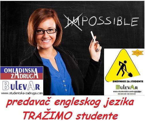 Oglasi za posao / poslovi preko omladinske zadruge Bulevar, predavači engelskog jezika, Beograd
