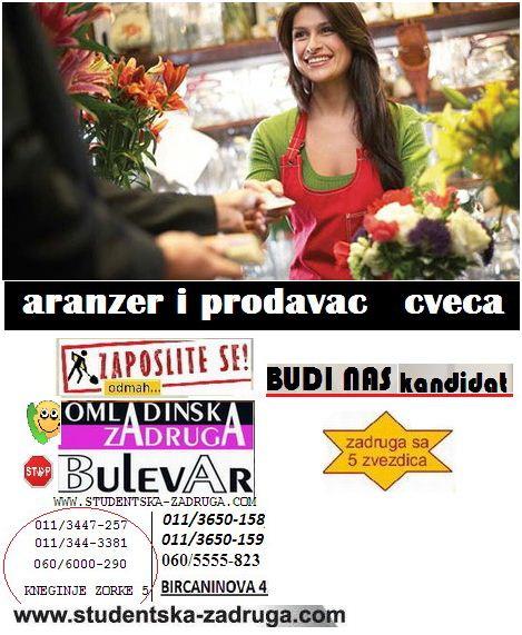 Oglasi za posao - Omladinska i studentska zadruga Bulevar, aranžer cveća i prodavac