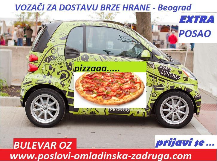 Poslovi preko omladinske zadruge, oglasi za posao BULEVAR zadruga - Vozaci za dostavu brze hrane, Beograd