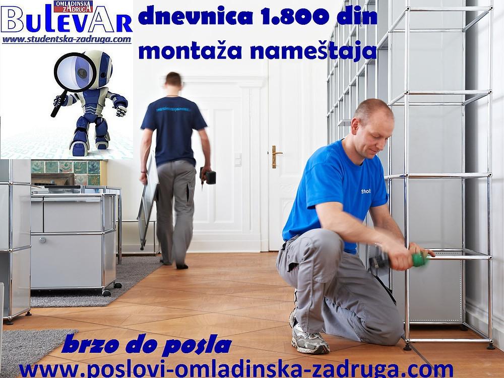 Oglasi za posao / poslovi preko omladinske zadruge BULEVAR, studenti dnevnice, montaza namestaja, Beograd