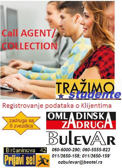 Oglasi za posao / poslovi preko zadruge Bulevar - Call agent operater