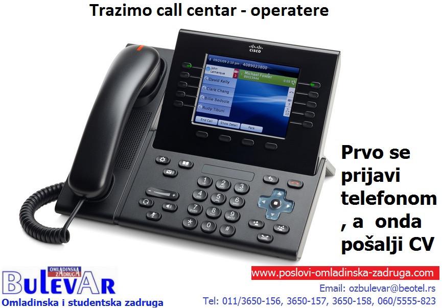 Poslovi omladinska zadruga, oglasi za posao BULEVAR zadruga - Call centar operater, telefonista, Beograd