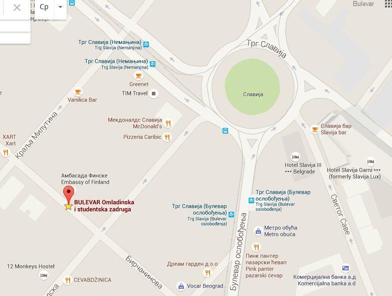 Mapa poslovnica- Omladinska i studentska zadruga Bulevar