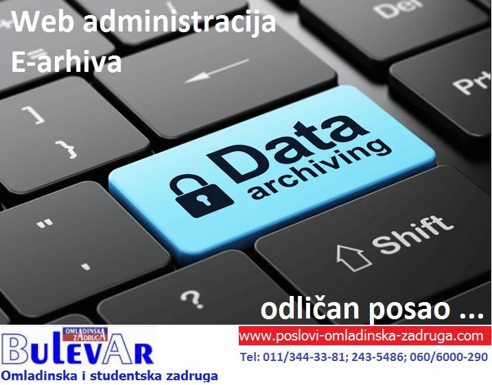 Web administrator, E arhiva, poslovi Omladinska zadruga, preko zadruge, posao BULEVAR human resources