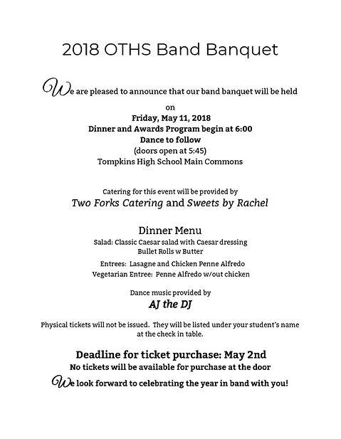 OTHS Falcon Band Banquet 2018