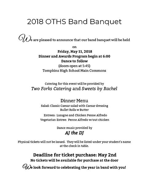 OTHS Falcon Band Banquet 2018
